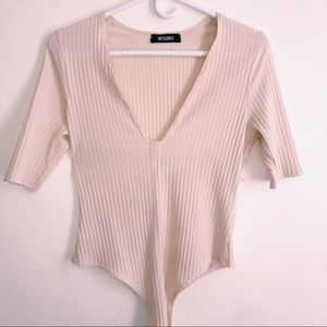 MissGuided Baby Pink Vneck Bodysuit Size S